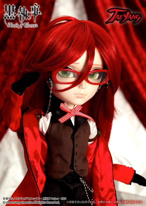 The lowest best!!! The Extreme Popular Animation ''Black Butler''; The Grell is now becomes Taeyang!! /Accessories: Glasses, Doll Stand/Set Contents: Glasses, Coat, Arm belt (x2), Blouse, Pants, Gloves, Shoes/Feeling:Oh, It's Good...and Good!! My even ''Sebastian''..... The eyes....Let the heart to flare up freeze!!! Feel shivery!! /- The complete supervision by TOBOSO YANA (original Black Butler Writer)!! - The bright red coat which he took away from ''MADAM RED'' reappeared faithfully.