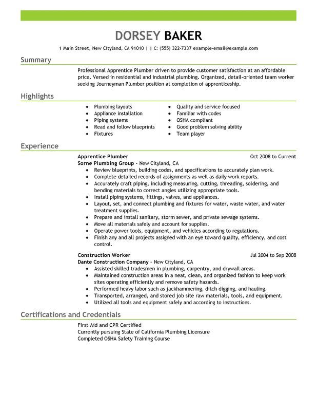 21 best Resume images on Pinterest Cover letters, Resume ideas - plumber apprentice sample resume
