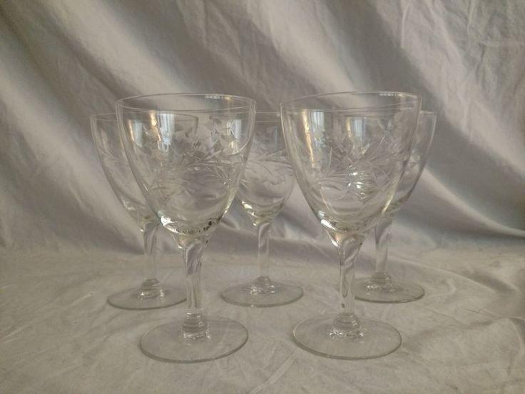 Set of 5 Vintage Cut Glass Port Wine or Liqueur Wine Glasses Stemware