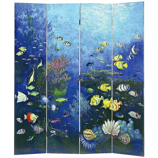 Ocean Life 4-Panel Room Divider Screen ($500) ❤ liked on Polyvore