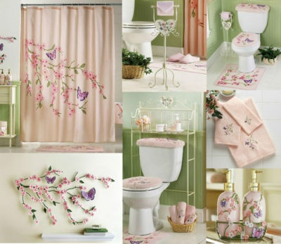 details about cherry blossom bathroom pink floral butterflies shower curtain rug mat towels