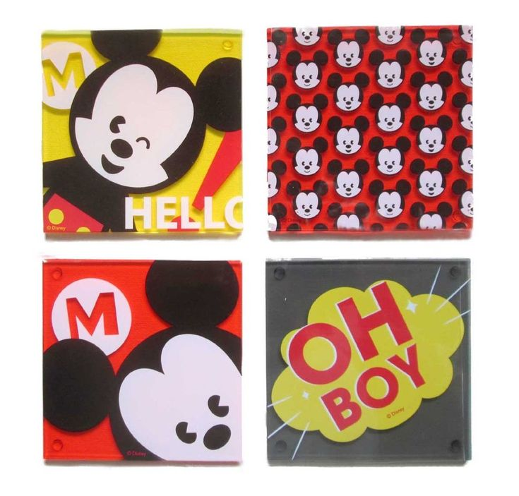 Disney Store Mickey Mouse MXYZ Acrylic Coaster Set of 4 with Tray #Disney