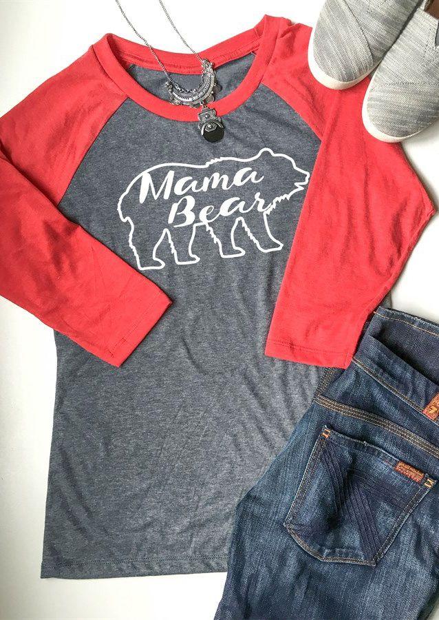 Mama Bear Letter Printed Splicing O-Neck T-Shirt - Fairyseason
