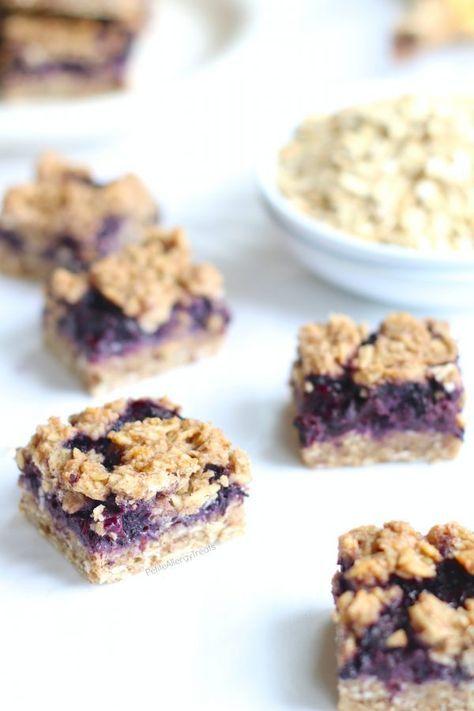 Easy Blueberry Breakfast Oat Bars Recipe (gluten free dairy free Vegan) Healthy refined sugar free flourless oat bars! Super easy dairy free quick breakfast. Food Allergy friendly.