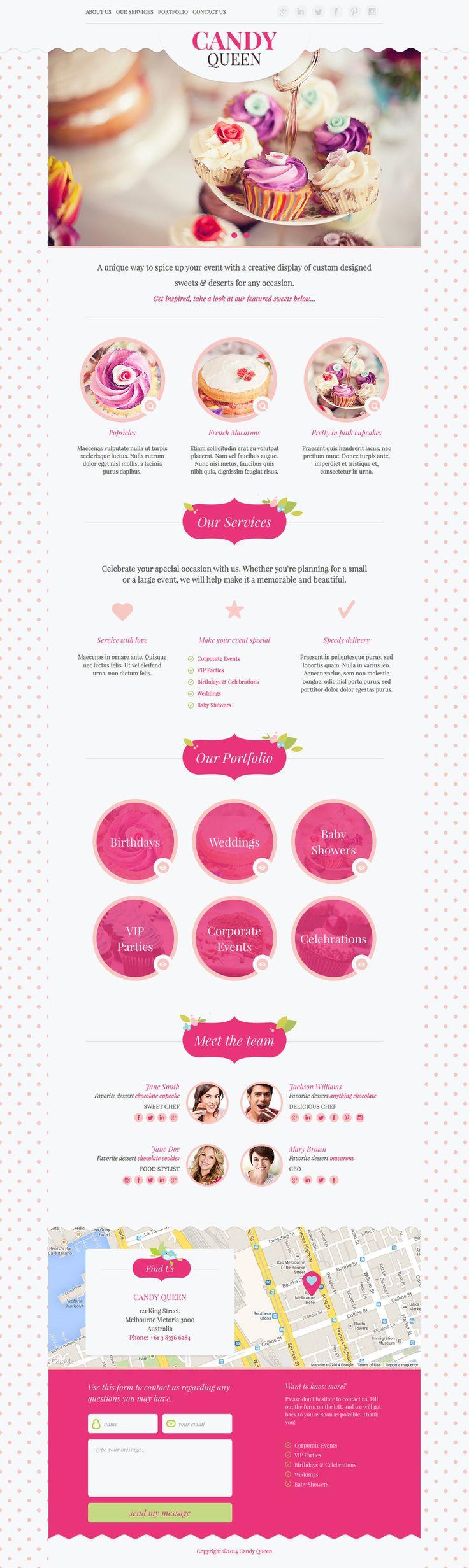 ・メイン画像のイメージと、サイトカラーのピンクかマッチしてる。 ・キャンディーというお菓子の甘いイメージがサイトカラーや、オブジェクトの丸いデザインで表現出来ている。