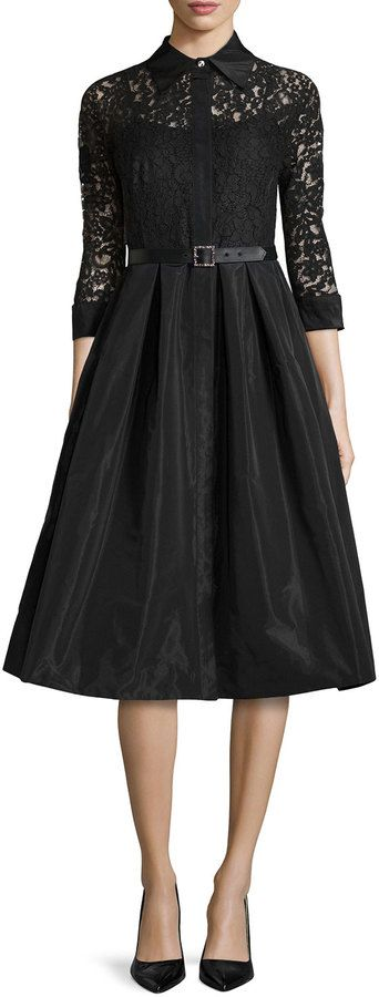 $580, Black Lace Shirtdress: Rickie Freeman For Teri Jon Lace Full Skirt Belted Cocktail Shirtdress. Sold by Neiman Marcus.