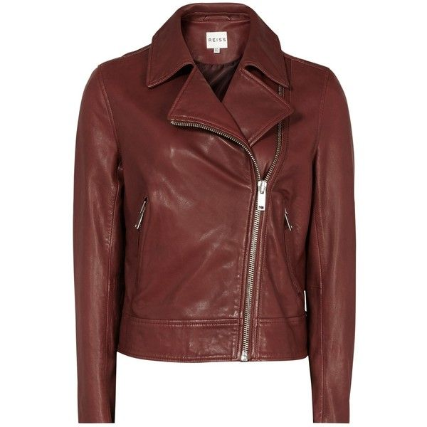 Reiss Leather Caden Biker Jacket, Clay ($255) ❤ liked on Polyvore featuring outerwear, jackets, short jacket, moto jacket, red moto jacket, leather motorcycle jacket and short leather jacket