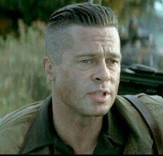Slick Back Undercut Ideal Fury Haircut Brad Pitt Fury