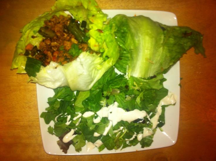 PINK method reset dinner #2 - ground turkey & veggie tacos with salad