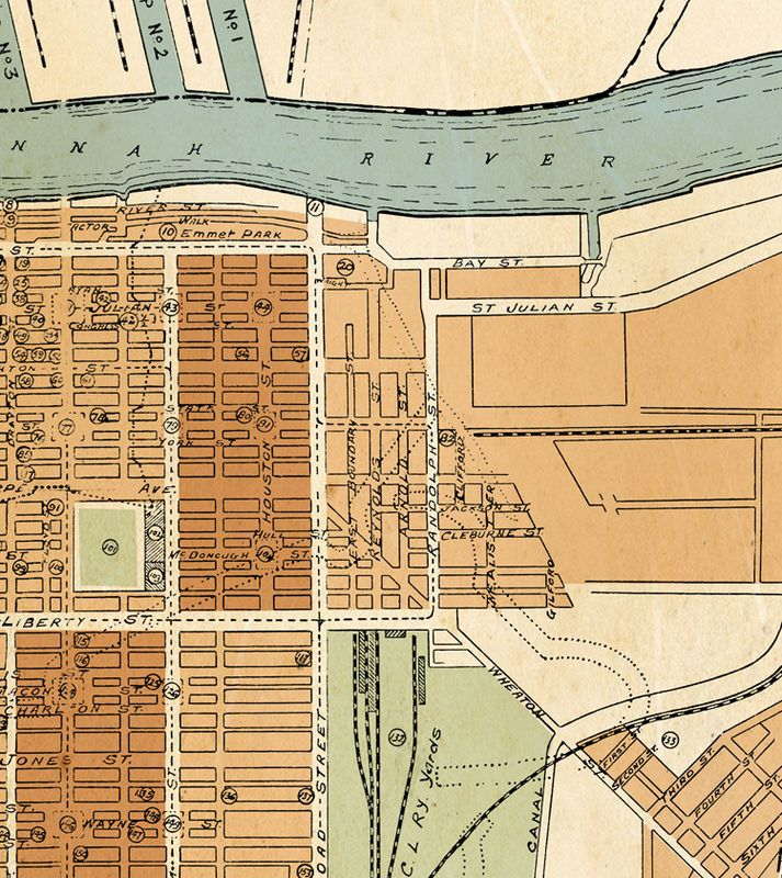 VINTAGE MAPS AND PRINTS — (via Old map of savannah GA Georgia 1917 - OLD...