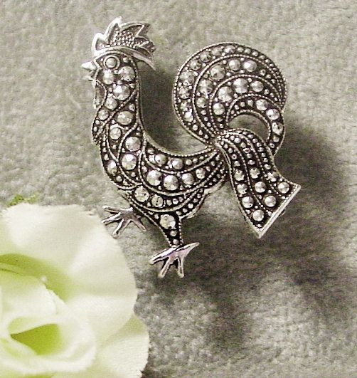 Vintage Rooster Brooch Silver and Marcasite Germany