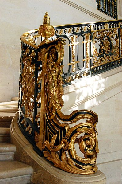 Stairs at the Petit Trianon, where is a small château located on the grounds of the Palace of Versailles in Versailles, France.