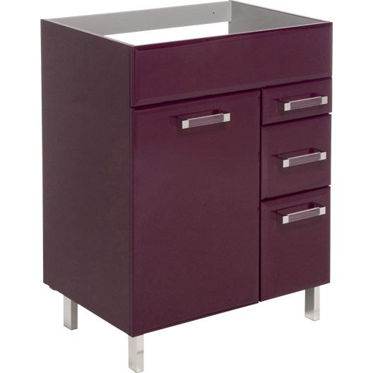 finest meuble sousvasque opale aubergine lxhxpcm tiroirs porte filing ikeacabinet with meubles. Black Bedroom Furniture Sets. Home Design Ideas