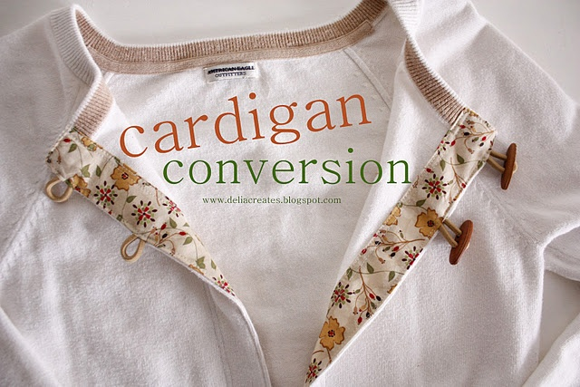 Cardigan from old/too small sweaters: Tutorials, Idea, Old Sweaters, Cardigans Refashion, Diy'S Cardigans, Pullover Sweaters, Delias Create, Cardigans Converse, Small Sweaters