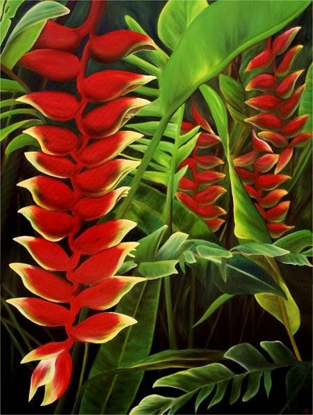 Heliconia Rostrata oil painting by Anna Keay at Kai Pua - Anna Keay: Bright and Bold Tropicals