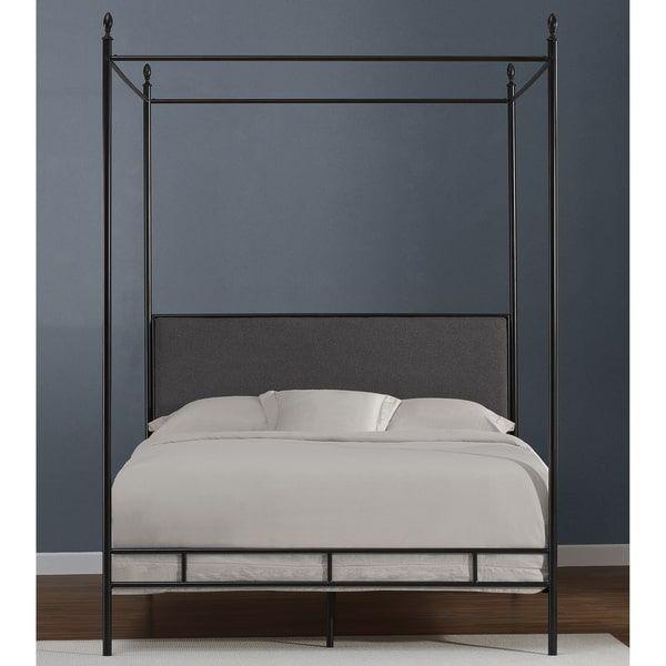 Lauren Grey Upholstered Queen Size Canopy Bed