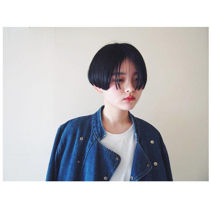 ワンレングスの黒髪ショート。 #hairstyle #shorthair #黒髪ショート #ショートカット #ワンレン #かりあげ #2ブロック #cut…