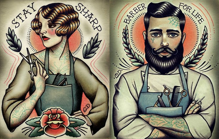 Barber Girl Tattoo Print now available on Etsy :)