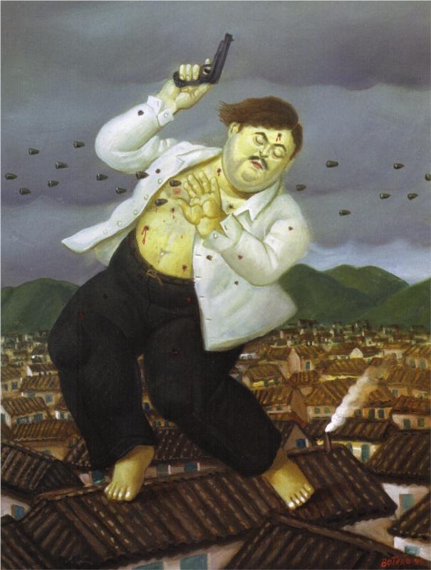 Death of Pablo Escobar - Fernando Botero, 1999