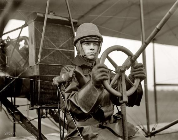 "Steampunk test pilot 1912. ""Army aviation, College Park, Maryland. Tests of Curtiss plane for Army."""