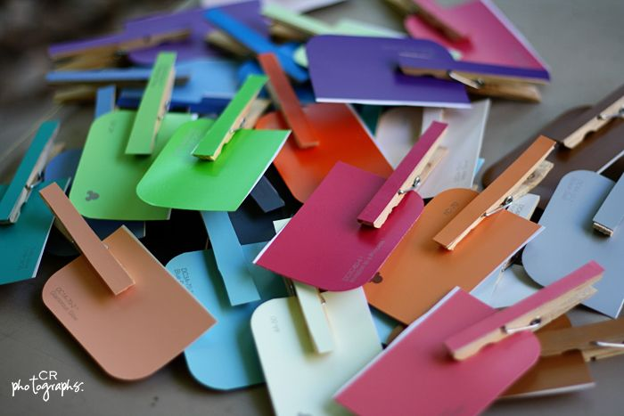 Super easy.  Virtually free.  Encourages visual stimulation, fine motor skills, and critical thinking.    Did I mention virtually free?    Take clothespins from the Dollar Store, paint chips, and a glue stick…and you have a craft that keeps children entertained for quite a while.