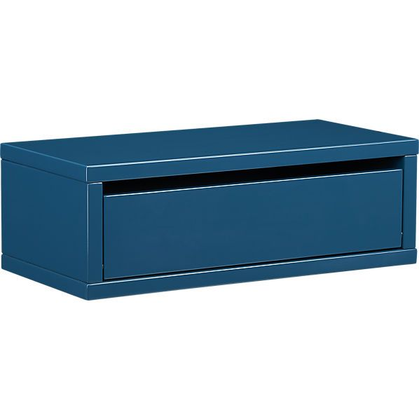 slice blue wall mounted storage shelf  | CB2 If you put several of these side by side along one wall you suddenly have a buffet in your dining room. Or stack them vertically with enough space for books in between and you have a built in bookshelf with bonus storage for power cords and matches and all those little things that need an out of sight place to live.