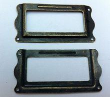 Office Bestand Lade Deur Tag Label Kaarthouder Brons afwerking geneeskunde doos naam kaarthouder Antieke Label Frame tag Houder 65*31mm(China)