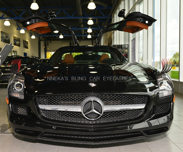 Our 2012 Mercedes-Benz SLS AMG. She looks sexy with her fiery eyelashes - ON SALE FOR $32.99. The vehicle runs for 189,600 - 196,100 dollars! HOT!! Don't let the price of our car eyelashes fool you. It is quality. We created a old with automotive 3M tape that will not cause damage to your vehicle. The airbrushed tips are built to last years! #careyelashes