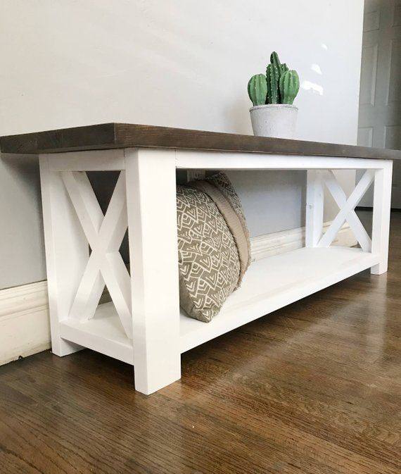 Rustic X Console Entryway Bench Can Be Customized To Your Desired Dimensions As Well As Stain We Offer Diff Diy Furniture Projects Diy Entryway Bench Home Diy