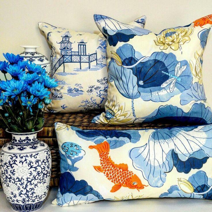 Fish pond chinoiserie cushion