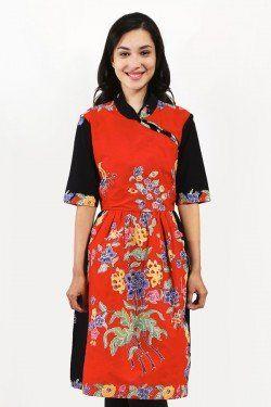 BATIKFLO Dress Batik Encim merah hitam