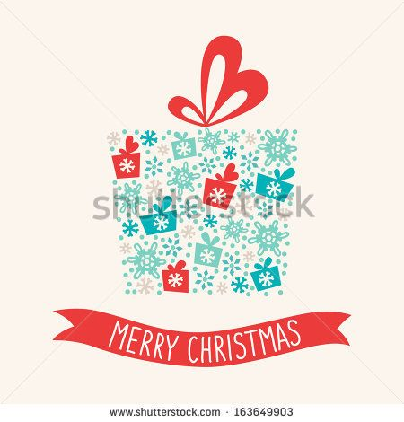 Christmas greeting card with present - stock vector