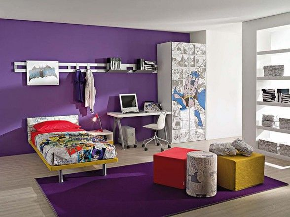 Superb Kids Room : Batman Kids Room Accents Design With Purple Wall And Wardrobe  Near Computer Desk Added Purple Rug Decorating Ideas For Kids Room Accents  Wall ...