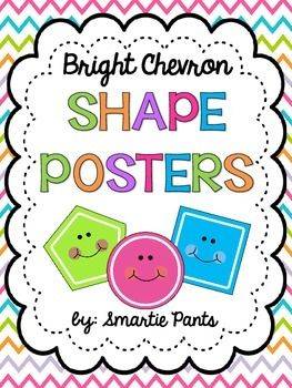These adorable 2D shape posters include 12 shapes: square, octagon, star, rectangle, oval, triangle, rhombus, rhombus and diamond, hexagon, circle, pentagon and trapezoid. These posters match our bright chevron behavior chart (Free) and our bright chevron number, color, alphabet and 3D shape posters.