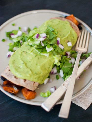 Sweet Potato Burrito Smothered in Avocado Salsa Verde - not just this, whole article