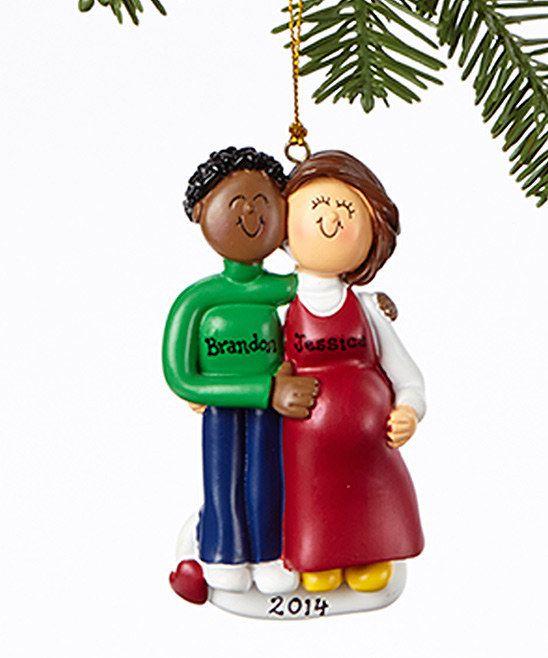 Interracial lgbtq christmas couple on heart ornament