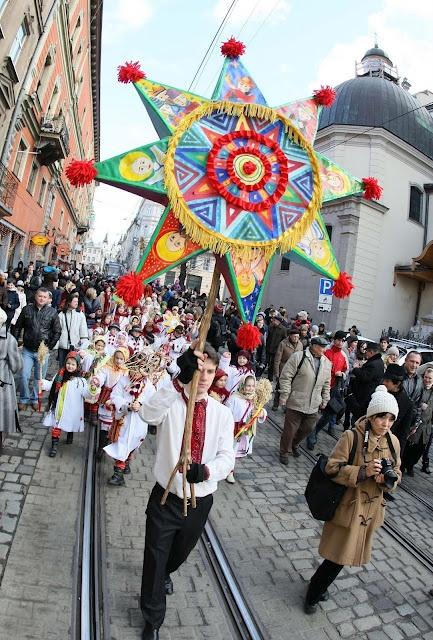 Christmas Parade in the city of Lviv, western Ukraine