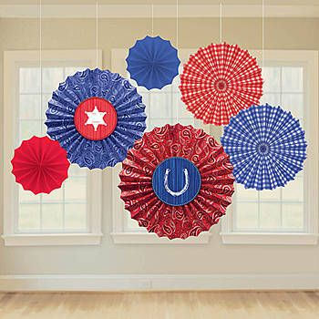 These Western Paper Fan Decorations feature red and white, gingham and paisley designs with horseshoe and sheriff star accents.