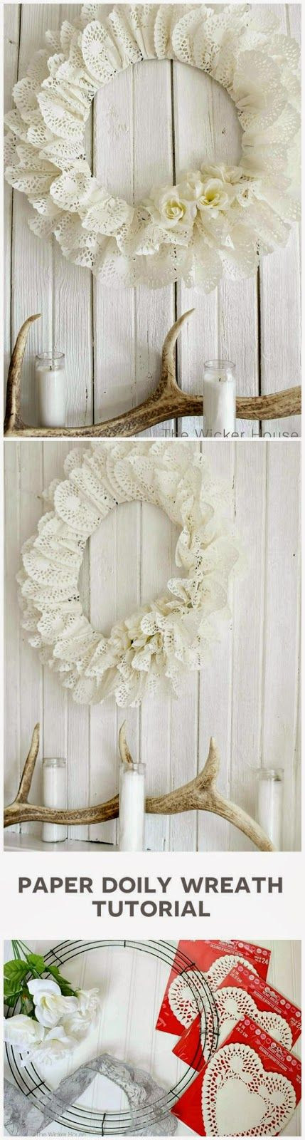 DIY Paper Heart Doily Wreath ~ an everyday beautiful wall hanging... Pretty for Spring!