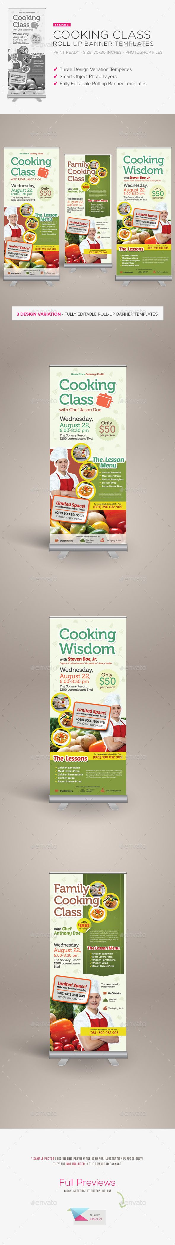 Cooking Class Roll-up Banner Template PSD #design Download: http://graphicriver.net/item/cooking-class-rollup-banner-templates/14261595?ref=ksioks