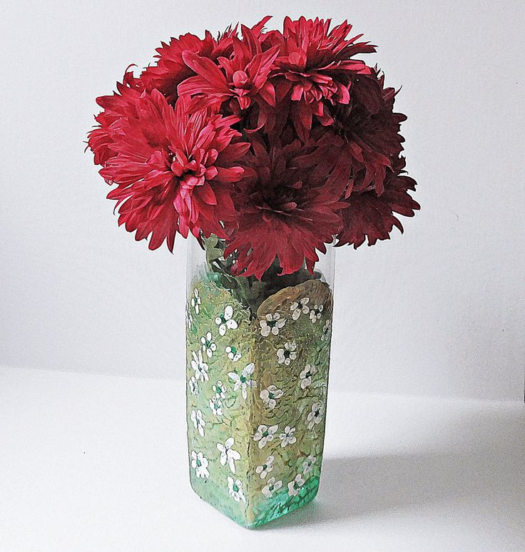 Painted Glass Vase | Green Centerpiece | Shabby Chic Vase | Table Decorations | Hand Painted Vase | Painted Glass Vase | Handmade Gifts by MariGlassAtelier on Etsy