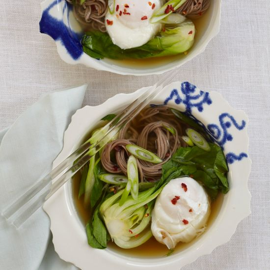 Soba Noodles with Dashi, Poached Egg and Scallions | Chef Douglas Keane creates a quick but flavorful broth using kombu and dashi powder.