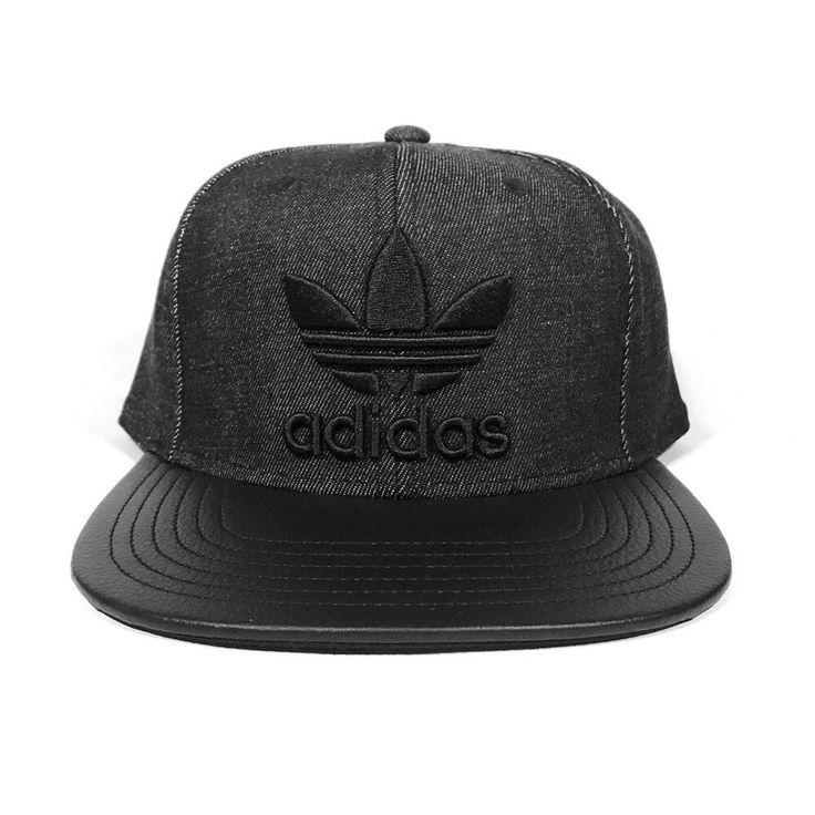ADIDAS TREFOIL HAT black/dark gray denim jean faux leather ... Respect Hat Marley