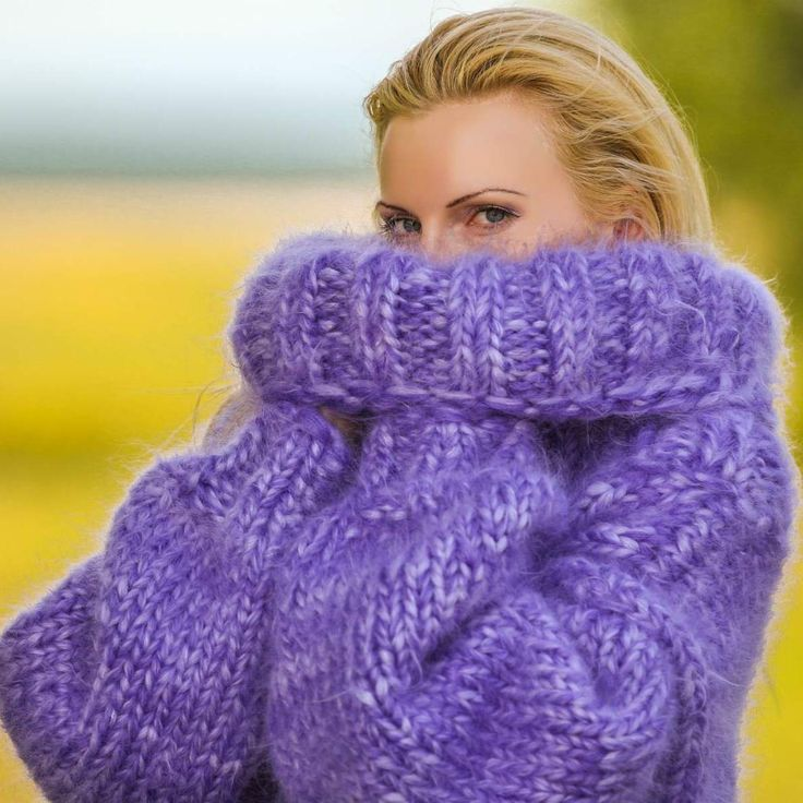 Big and heavy hand knitted sweater in purple melange, size S, M, L, XL