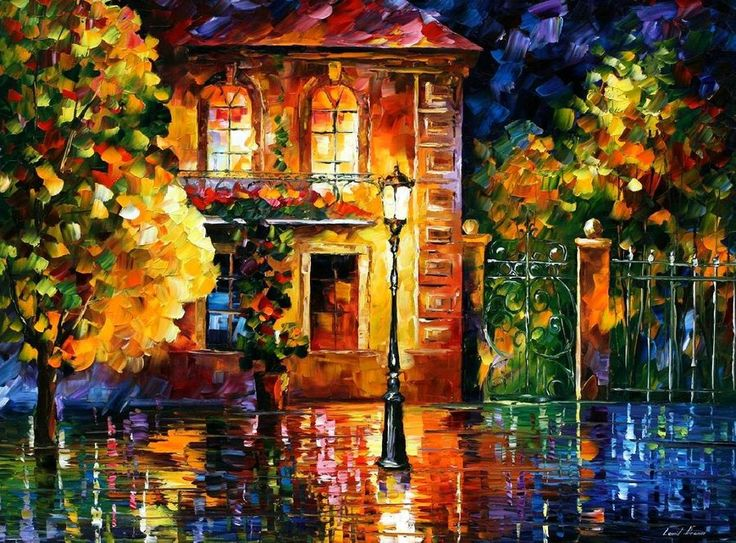 night of palette knife oil painting on canvas by leonid afremov painting by leonid afremov