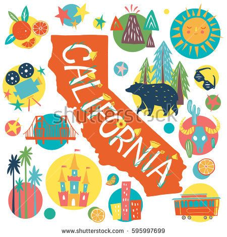 California Tourist Attractions concept - hand drawn unique vector illustration with main state symbols, map silhouette and lettering. Design for souvenir, greeting card, poster.