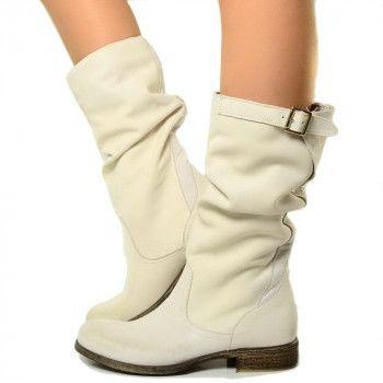 Stivali Donna Vera Pelle Comodi con Cinturino. Basic Boots MADE IN ITALY by Kikkiline.