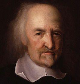Thomas Hobbes (1588-1679) was een engelse filosoof. Hobbes ging er van uit dat de mens in een natuurlijke toestand er was om te overleven. mensen willen dus overleven en dat maakt dat zij concurrenten van elkaar zijn. zijn uitspraak was: homo homini lupus est --> de mens is voor zijn medemens een wolf. Alleen een sterke koning kan er voor zorgen dat de mens niet uitsterft (absolutisme)