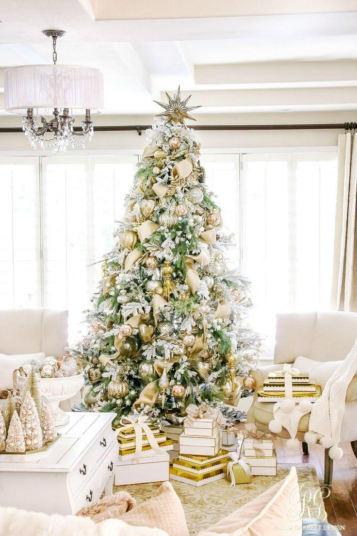 Hometalk diy christmas window decoration - Elegant Gold And Silver Decorated Flocked Christmas Tree