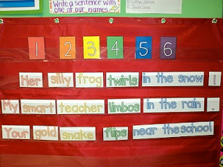 Silly sentences... kind of like magnetic poetry but for younger kids :)